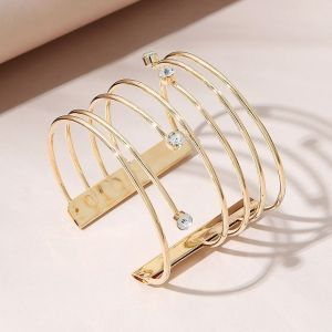 Gold Hollow Bars with Jewels Bracelet