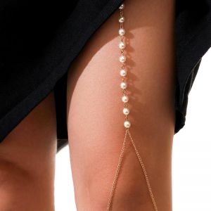 Tassel Imitation Pearl Leg Chain