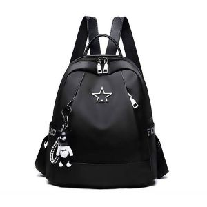 Black Leather Look Backpack