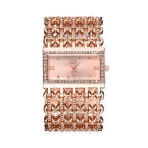 Rose Gold Rectangular Steel Band Ladies Bracelet Diamond Wide Strap