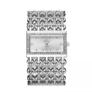 Silver Rectangular Steel Band Ladies Bracelet Diamond Wide Strap