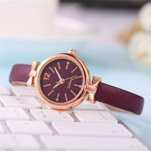 Plum leather look watch