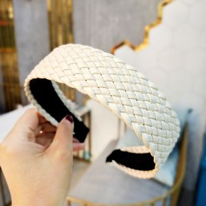 White Pu Leather Headband