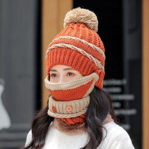 Orange Three piece Hat Bib Mask