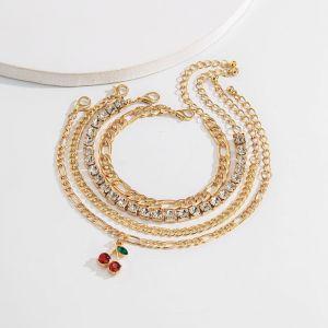 Diamond Chain Layered Bracelet with Cherry