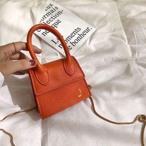 Single-handed Texture Shoulder Bag - ORANGE
