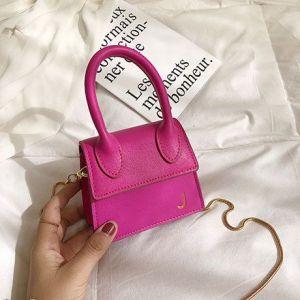 Single-handed Texture Shoulder Bag- ROSE PINK