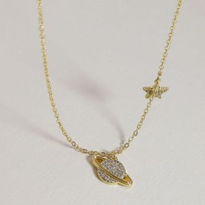 Gold Saturn and Star Necklace