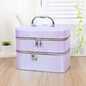 LILAC SECTIONED TWO-TIERE PORTABLE JEWELLERY MAKEUP BOX