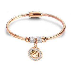 Rose Gold Rhinestone Tree Design Pendant Bracelet
