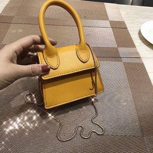 Single-handed Texture Shoulder Bag- YELLOW