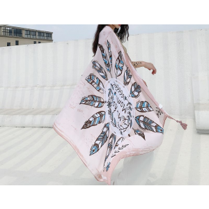 Oversized Silk Feather Print Pink and White Scarf