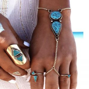 Beach Style Simple Turquoise Finger Alloy Bracelet