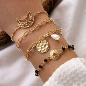 Black Rice Bead Pearl Moon Alloy Bracelet 4-piece Set