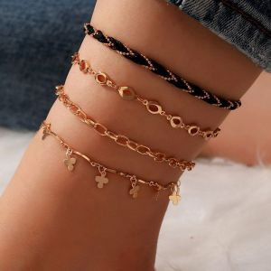 Multi-layer Alloy Anklet 4-piece Set