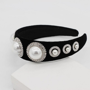 Black with Rhinestones and Pearls Headband
