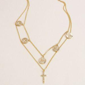 Gold Coin Cross Alloy Pendant Necklace