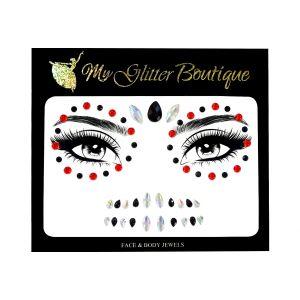 Skeleton Face Gems Halloween Stickers