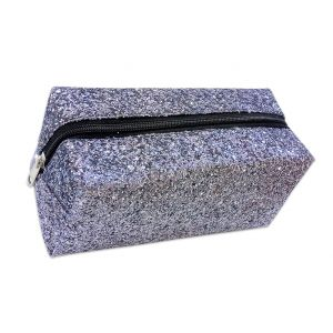 Rectangular Silver Glitter Makeup Bag