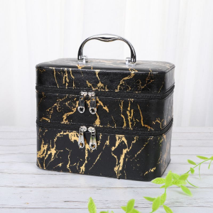 Black Gold Marble Section Two-Tier Portable Jewellery Makeup Box