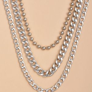 Fashion Alloy Heavy Metal Chain Women's Multi-layer Necklace