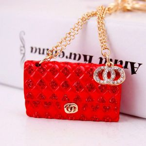 Red Creative Crystal Diamond Ladies Chain Bag Shape Key Chain