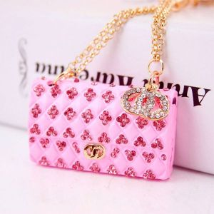 Pink Creative Crystal Diamond Ladies Chain Bag Shape Key Chain