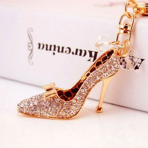 Pink Crystal High Heels Car Keychain