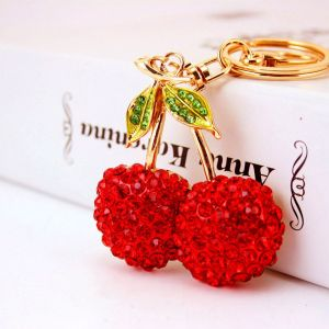 Cute Cherry Rhinestone Car Keychain
