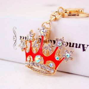 Red  Crown Crystal Car Keychain