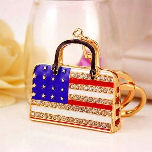 Diamond-studded American Flag Bag Keychain