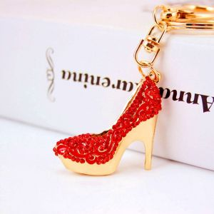 High Heels Diamond-studded Car Keychain