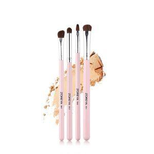 4 Man-made Fibre Pink Wooden Handle Makeup Brush Set