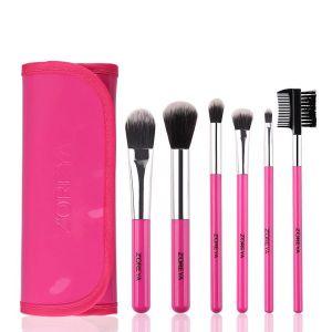 6 Plastic Handle Makeup Brush Set