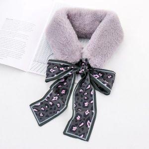 Grey Rabbit Fur Collar Warm Scarf