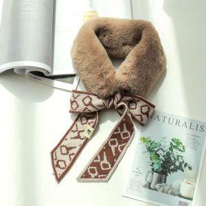 Knitted Wool Winter Imitation Rabbit Fur Warm Scarf