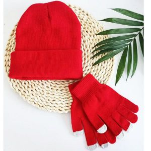 Knitted Hat And Gloves Set Red