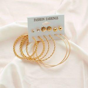 6 Pairs Of Big Circle Simple Earrings Set