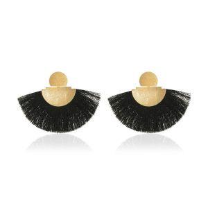 Fan-shaped Bohemian Retro Frosted Black Tassel Earrings