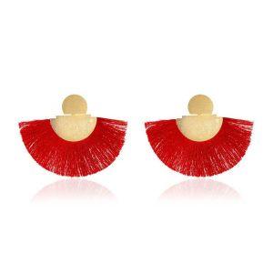 Fan shaped Bohemian Retro Frosted Red Tassel Earrings