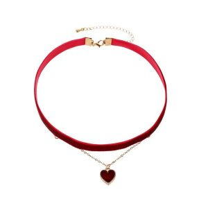 Whine Red Love Pendant Double Necklace Clavicle Chain