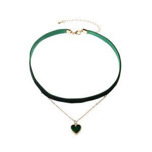 Dark Green Love Pendant Double Necklace Clavicle Chain