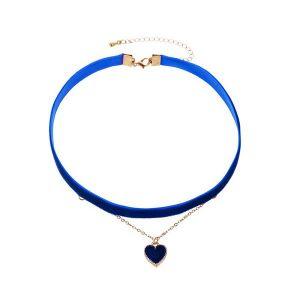 Dark Blue Love Pendant Double Necklace Clavicle Chain