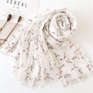 Cotton Linen Scarf White Magpie