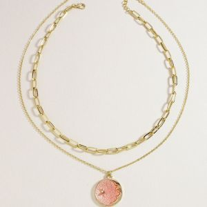 Pink Star Moon Pendant Two Necklace