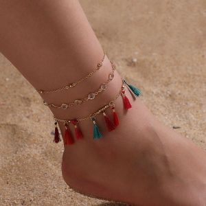 Tassel Jewel Chain Anklet Set