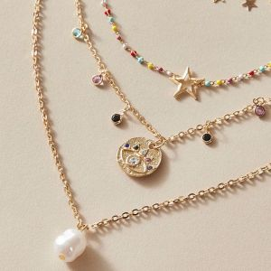 New Pearl Chain Multilayer Eye Star Necklace
