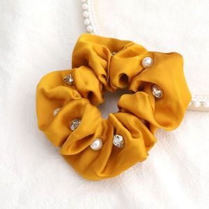 Solid Colour Fabric Diamonds And Pearls Trendy Hair Scrunchies Yellow