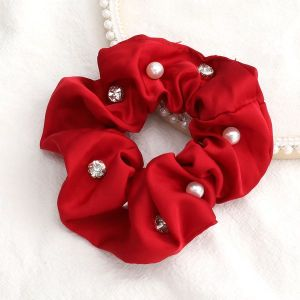 Solid Colour Fabric Diamonds And Pearls Trendy Hair Scrunchies Red