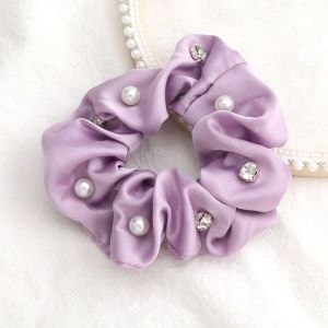 Solid Colour Fabric Diamonds And Pearls Trendy Hair Scrunchies Purple